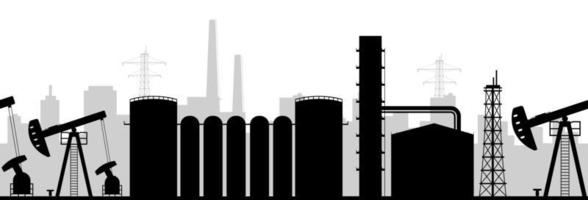 Oil manufacturing black silhouette vector