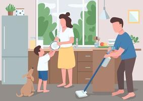 limpieza de la casa familiar vector