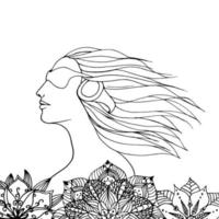Woman listens music in flowers. vector