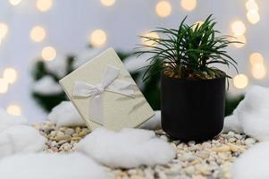 fondo de navidad con caja de regalo