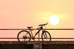 Beautiful mountain bike on concrete bridge