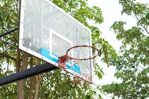 primer plano, de, un, aro de baloncesto foto