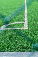 Artificial turf football field corner