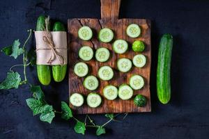 Cucumber slices on a cutting board