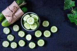 Cucumber slices in a bowl