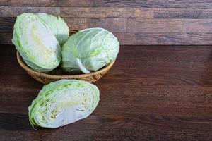 Cabbage in a basket on a wooden table