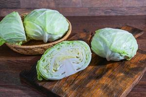 Cabbage halves on the cutting board