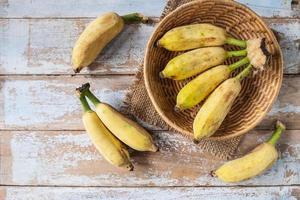 Organic bananas in basket