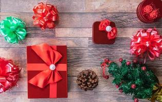 Christmas gift boxes flatlay