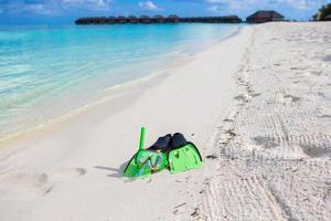 Snorkel gear on a beach