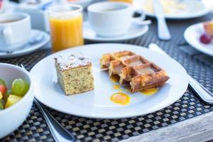 Cake and waffles