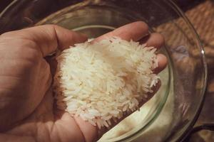 Hand holds grains of rice