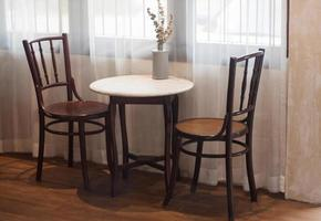 Table and chairs in a coffee shop