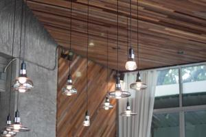 Decorative lights bulbs in modern room