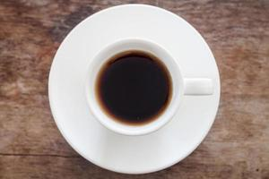 Top view of a cup of fresh coffee