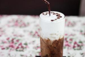 Close-up of an iced mocha photo
