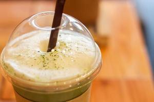 Close-up of a matcha frappe