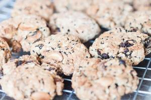 Close-up de galletas de nueces mixtas refrigeración en una rejilla foto