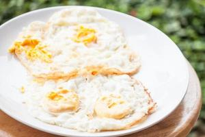 Eggs on a white plate