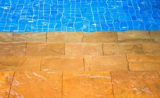 Sandstone steps to a swimming pool