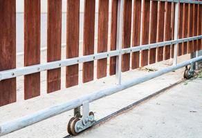 White rustic metal fence photo