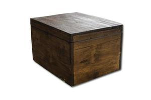 caja de madera sobre un fondo blanco