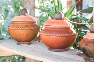 Clay pots in a garden
