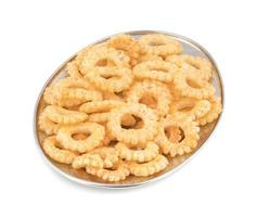 Round ring snacks on a platter