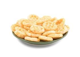 Green plate of salty wheels snacks