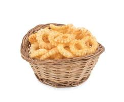 Round ring snacks in a basket