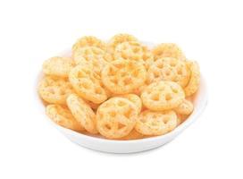 Bowl of salty wheels snacks