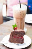Chocolate cake and milkshake