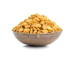 Wooden bowl of masala peanuts