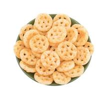 Salty wheels snack on a green plate