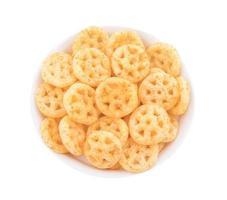 Top view of salty wheels snack