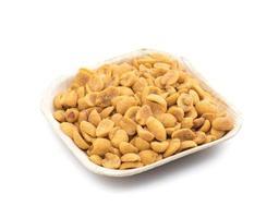White square dish with peanuts