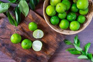Fresh lime in green basket