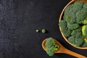 Broccoli florets in a bowl and on a spoon