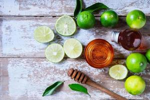 Flatlay of lime and honey