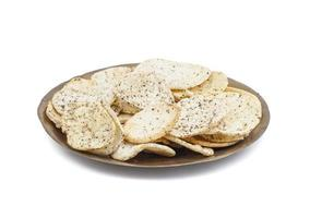 Chips on a wood plate