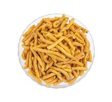 Top view of a glass bowl of sev