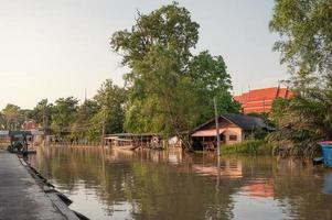 Wooden homestay floating on riverside