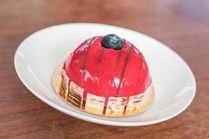 Raspberry mousse cake photo