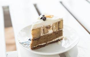 Banoffee cake on minimal white background