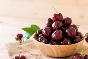 Fresh cherries in a wood bowl