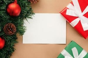 Merry Christmas greeting card mockup template