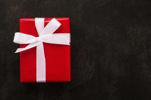 Vista superior de la caja de regalo de navidad envuelta
