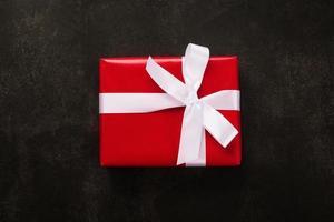 vista superior de la caja de regalo de navidad
