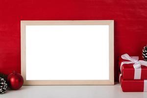 Blank wooden photo frame mockup t