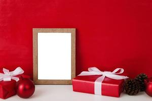 Blank wooden photo frame mockup template